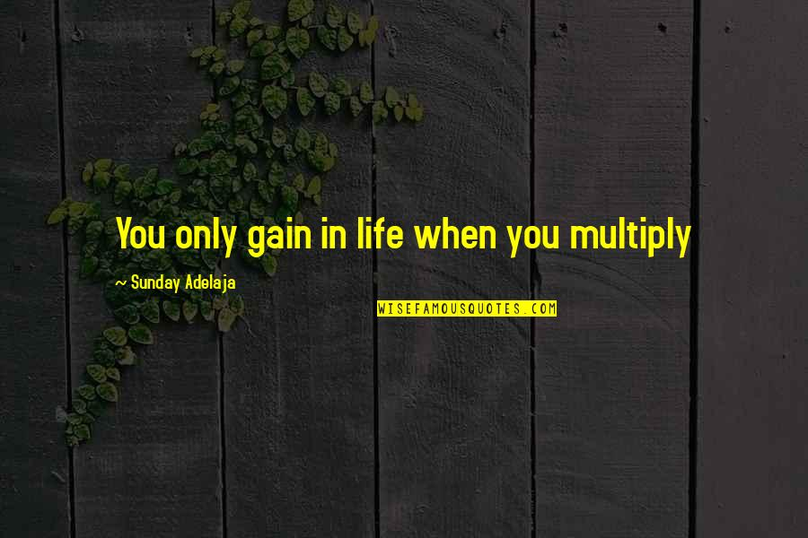Values In Life Quotes By Sunday Adelaja: You only gain in life when you multiply