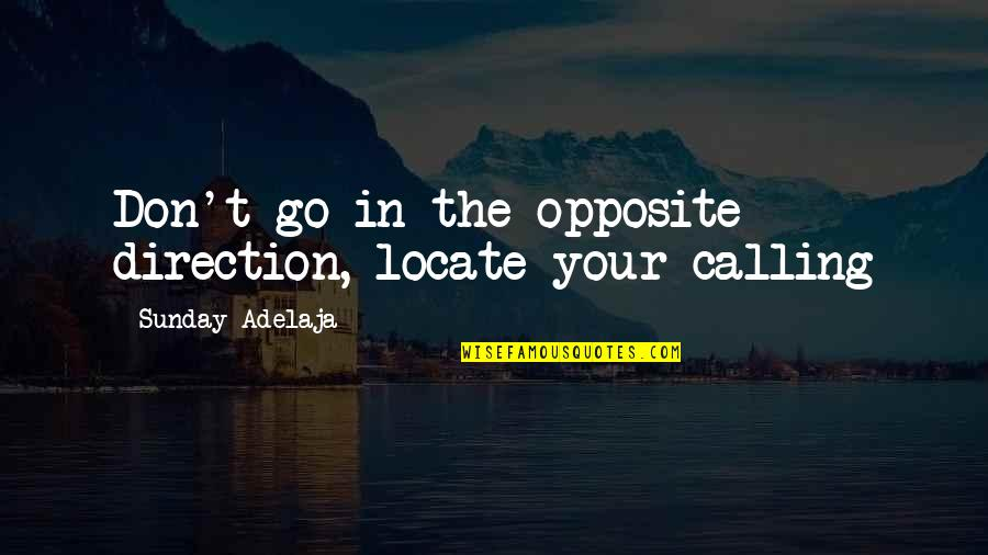 Values In Life Quotes By Sunday Adelaja: Don't go in the opposite direction, locate your