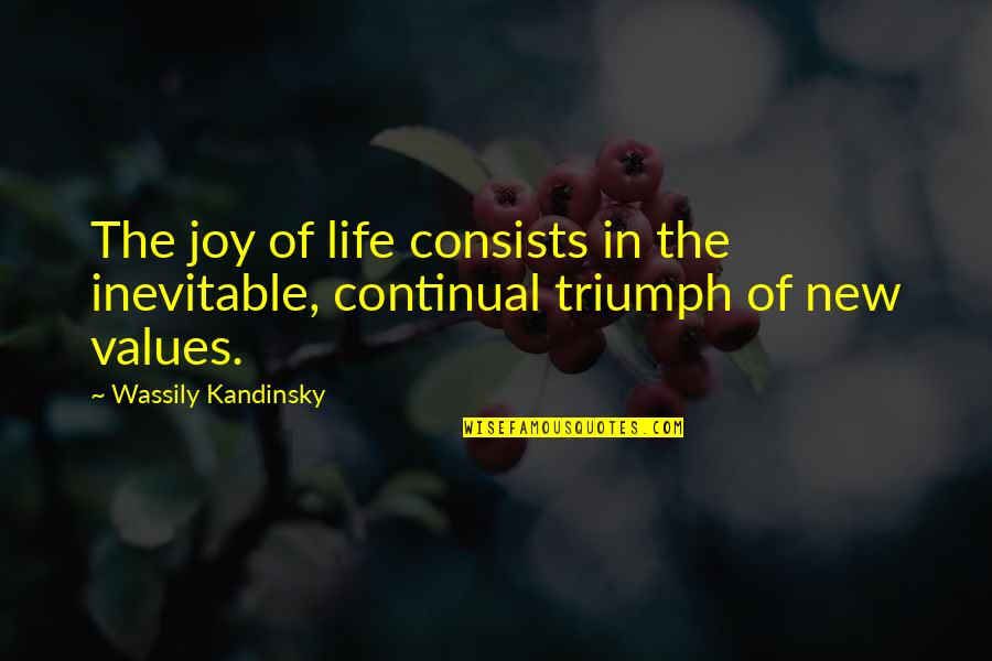 Values In Life Quotes By Wassily Kandinsky: The joy of life consists in the inevitable,