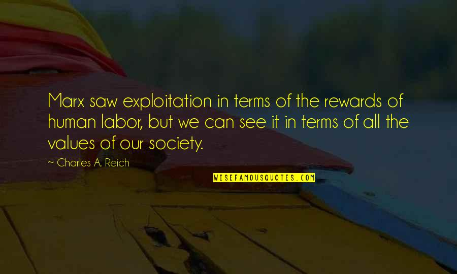 Values In Society Quotes By Charles A. Reich: Marx saw exploitation in terms of the rewards