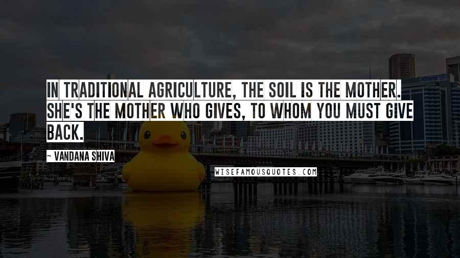 Vandana Shiva quotes: In traditional agriculture, the soil is the mother. She's the mother who gives, to whom you must give back.