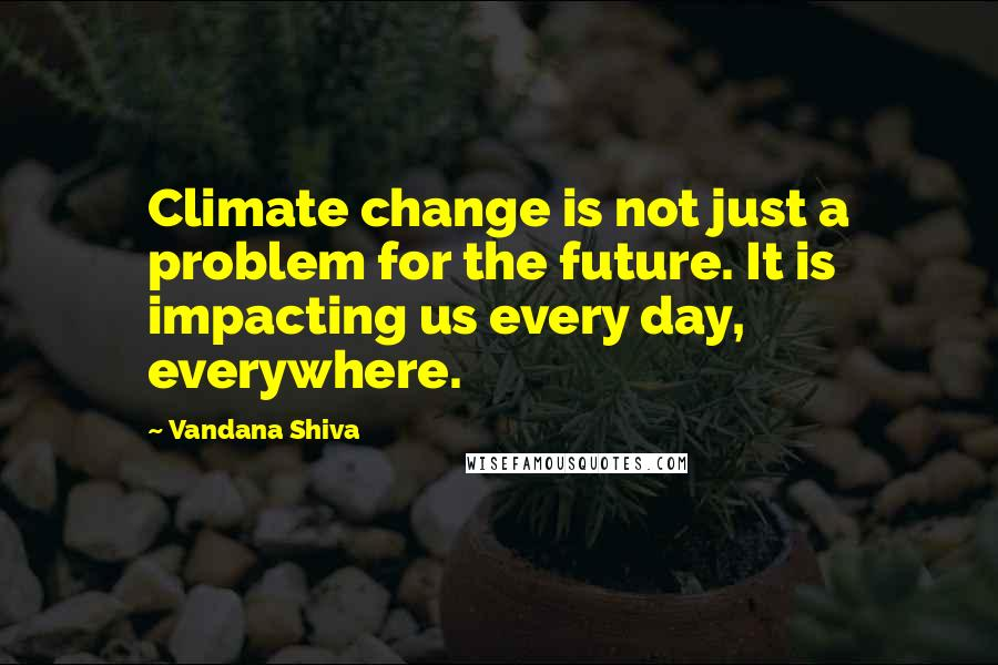 Vandana Shiva quotes: Climate change is not just a problem for the future. It is impacting us every day, everywhere.