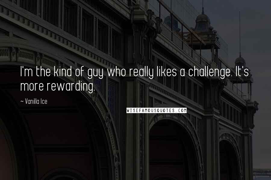 Vanilla Ice quotes: I'm the kind of guy who really likes a challenge. It's more rewarding.
