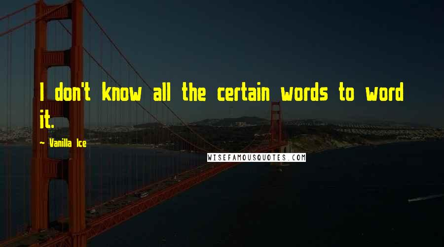 Vanilla Ice quotes: I don't know all the certain words to word it.