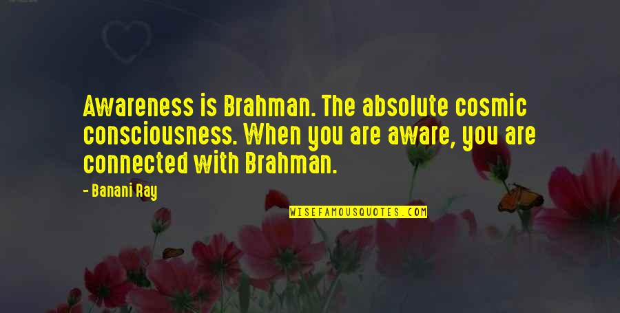 Vedanta Quotes By Banani Ray: Awareness is Brahman. The absolute cosmic consciousness. When