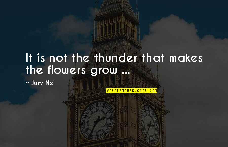 Vedanta Quotes By Jury Nel: It is not the thunder that makes the