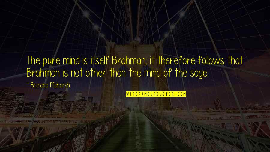 Vedanta Quotes By Ramana Maharshi: The pure mind is itself Brahman; it therefore