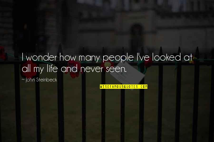 Ve'fy Quotes By John Steinbeck: I wonder how many people I've looked at