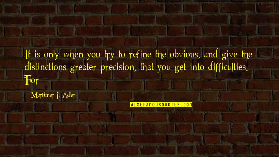 Vega Street Fighter Quotes By Mortimer J. Adler: It is only when you try to refine