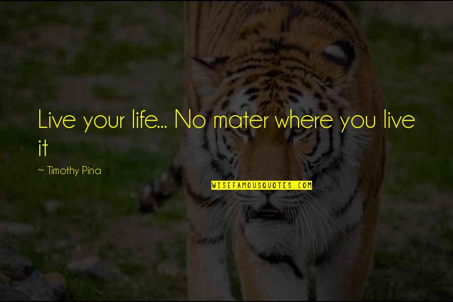 Velcade Quotes By Timothy Pina: Live your life... No mater where you live
