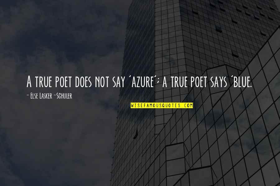 Velma Johnston Quotes By Else Lasker-Schuler: A true poet does not say 'azure'; a