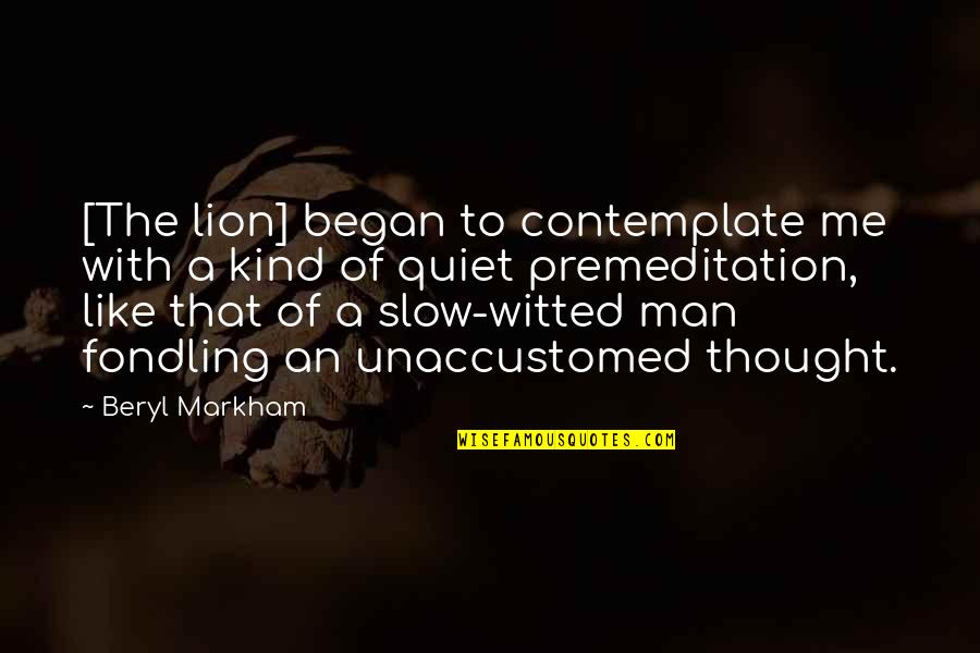 Venetian Masks Quotes By Beryl Markham: [The lion] began to contemplate me with a