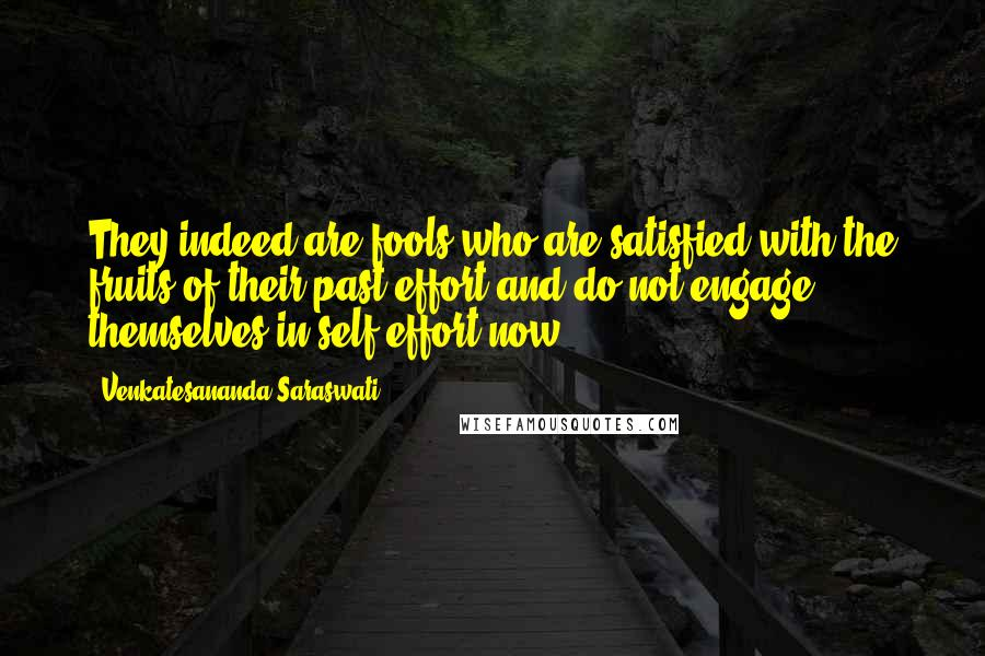 Venkatesananda Saraswati quotes: They indeed are fools who are satisfied with the fruits of their past effort and do not engage themselves in self-effort now.