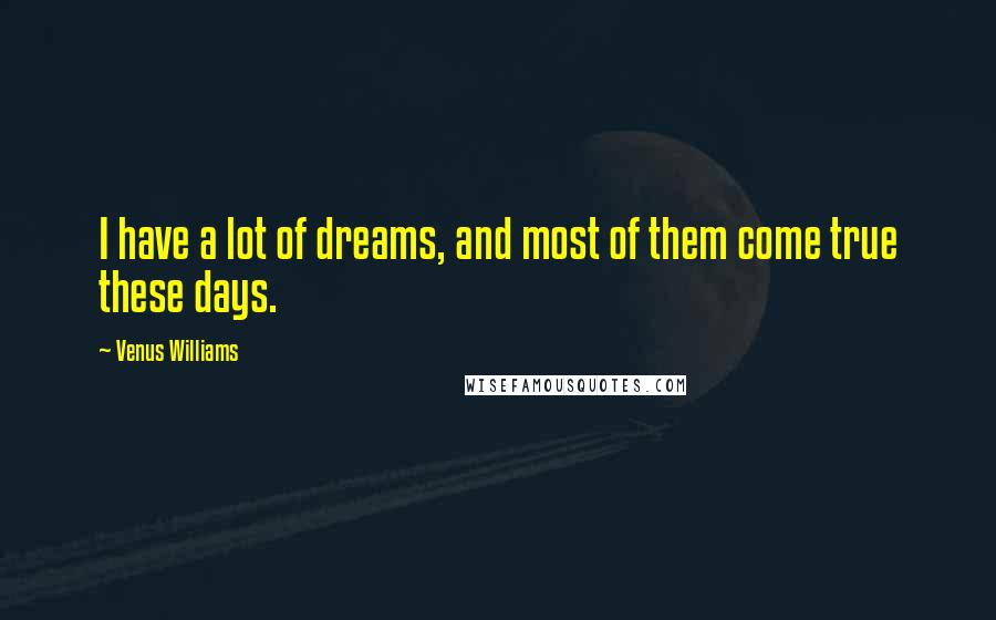 Venus Williams quotes: I have a lot of dreams, and most of them come true these days.