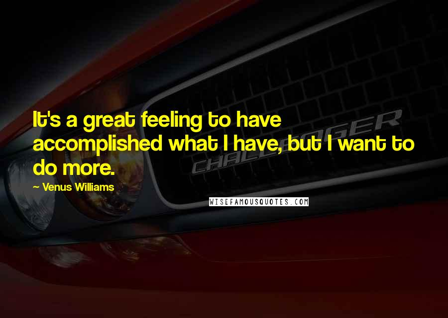 Venus Williams quotes: It's a great feeling to have accomplished what I have, but I want to do more.