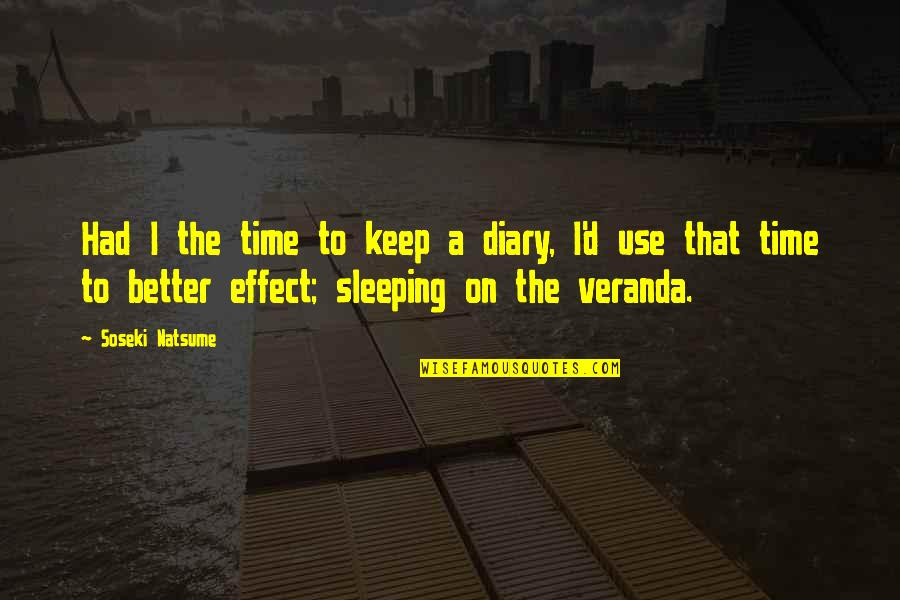 Veranda Quotes By Soseki Natsume: Had I the time to keep a diary,