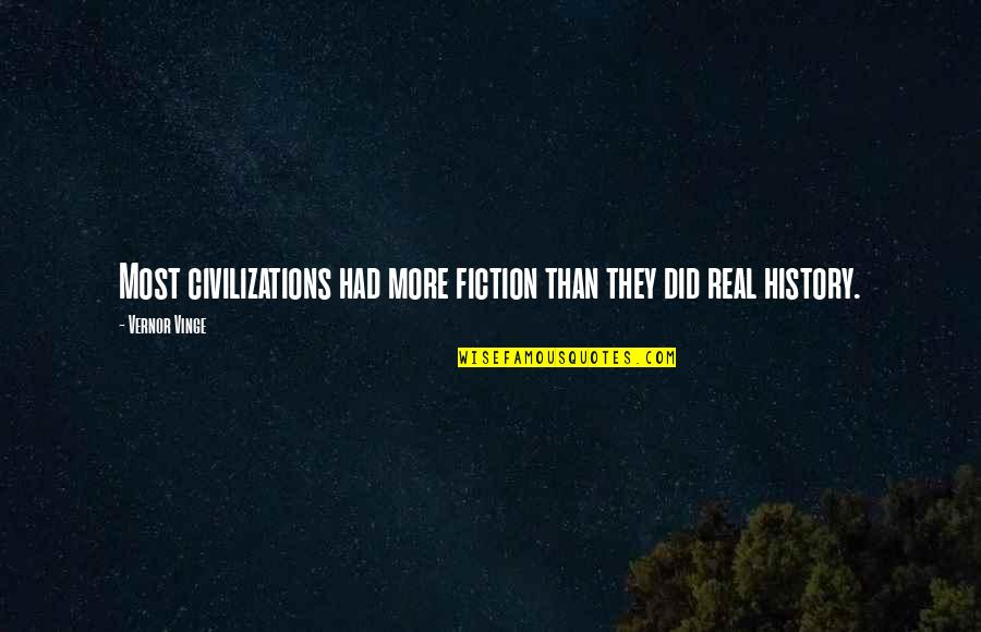 Vernor's Quotes By Vernor Vinge: Most civilizations had more fiction than they did