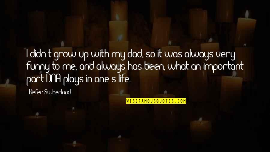 Very Funny Life Quotes By Kiefer Sutherland: I didn't grow up with my dad, so