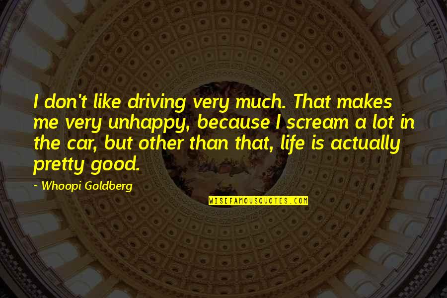 Very Funny Life Quotes By Whoopi Goldberg: I don't like driving very much. That makes