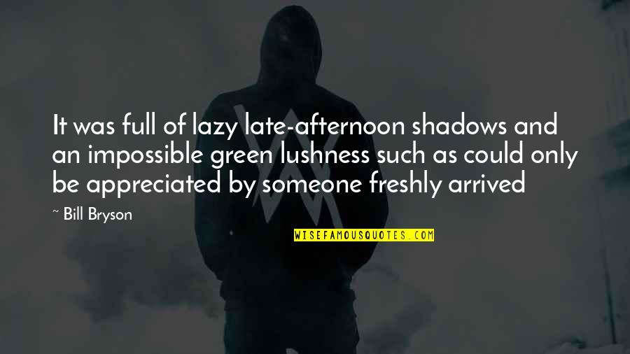 Very Much Appreciated Quotes By Bill Bryson: It was full of lazy late-afternoon shadows and