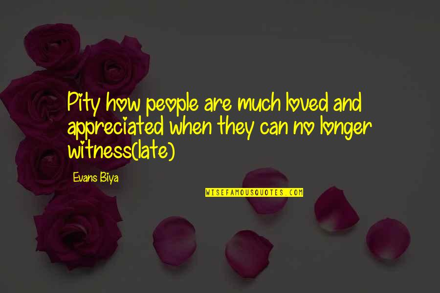 Very Much Appreciated Quotes By Evans Biya: Pity how people are much loved and appreciated