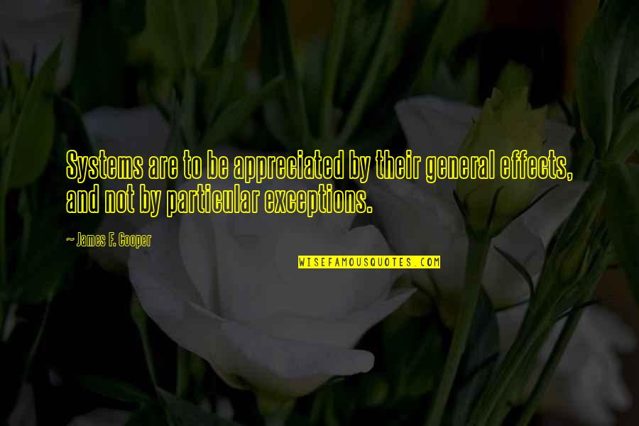 Very Much Appreciated Quotes By James F. Cooper: Systems are to be appreciated by their general
