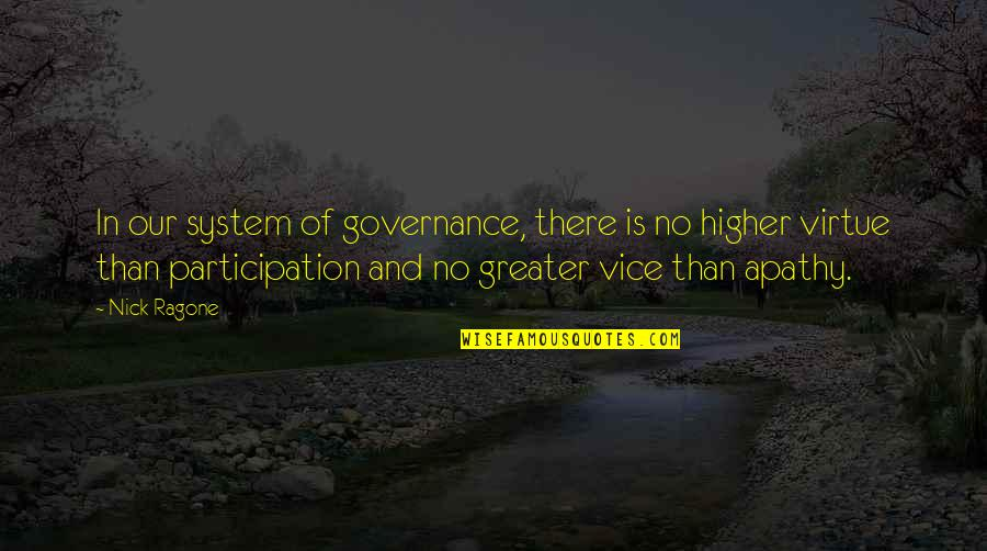 Vice And Virtue Quotes By Nick Ragone: In our system of governance, there is no