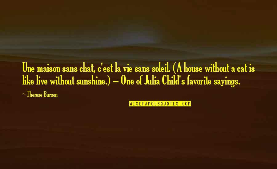Vie Quotes By Therese Burson: Une maison sans chat, c'est la vie sans