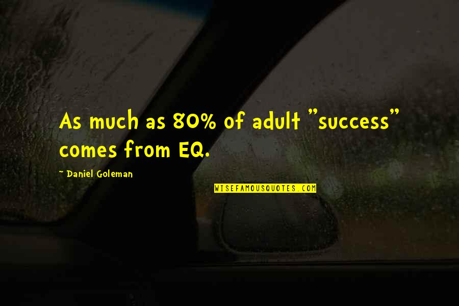 "Vigilantism Is Bad Quotes By Daniel Goleman: As much as 80% of adult ""success"" comes"