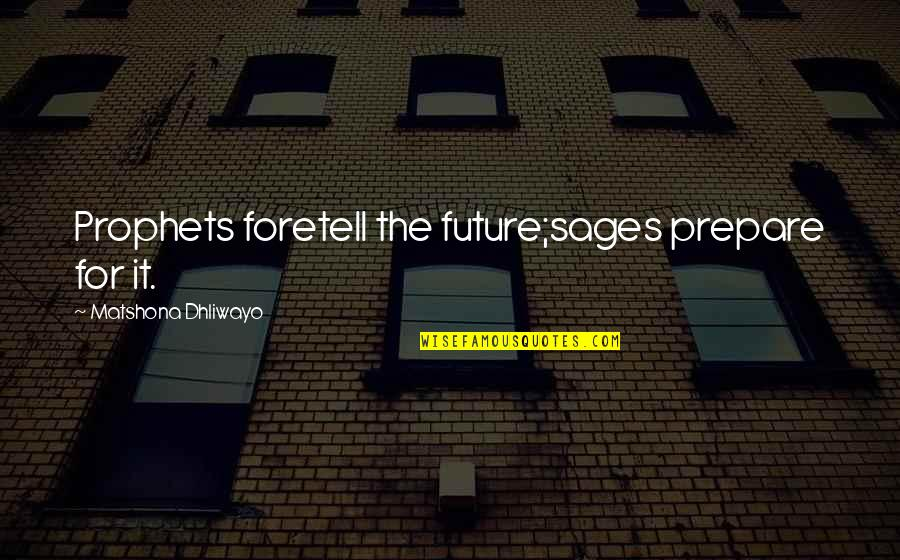 Vijay Amritraj Quotes By Matshona Dhliwayo: Prophets foretell the future;sages prepare for it.