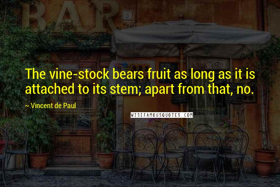 Vincent De Paul quotes: The vine-stock bears fruit as long as it is attached to its stem; apart from that, no.