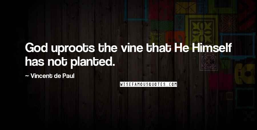 Vincent De Paul quotes: God uproots the vine that He Himself has not planted.