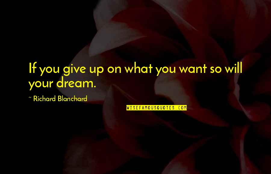 Vincent Scully Quotes By Richard Blanchard: If you give up on what you want