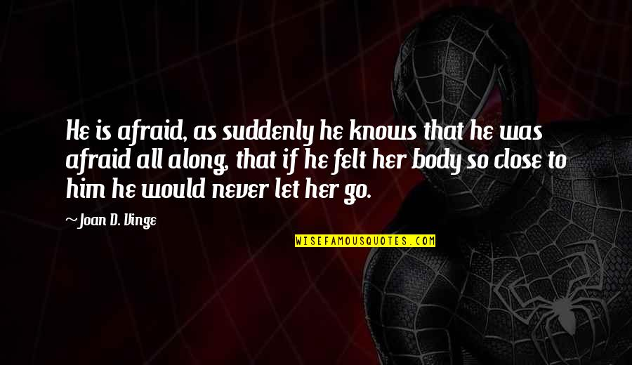 Vinge Quotes By Joan D. Vinge: He is afraid, as suddenly he knows that