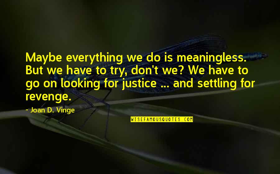 Vinge Quotes By Joan D. Vinge: Maybe everything we do is meaningless. But we