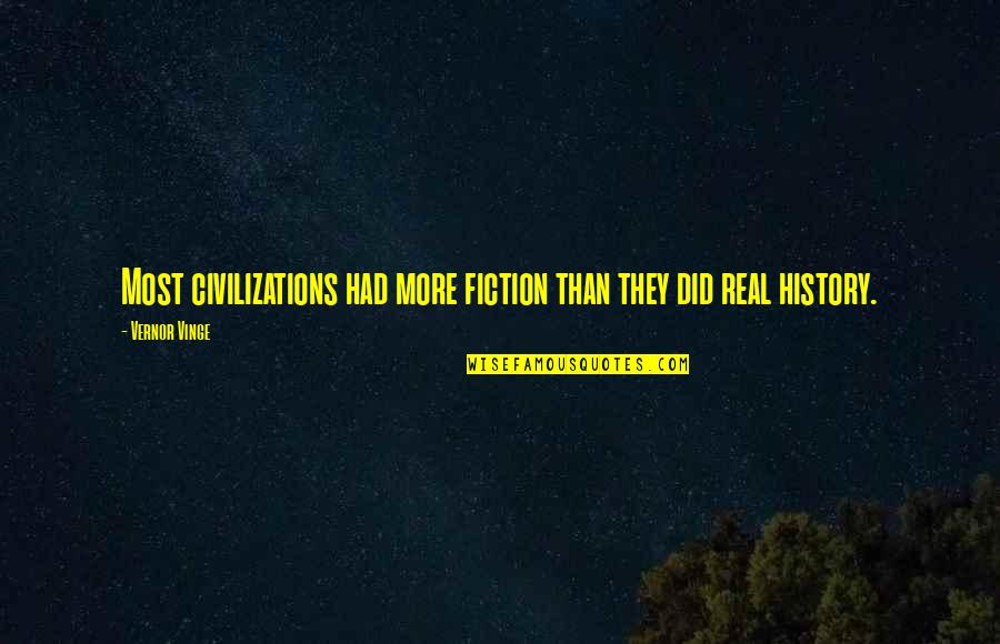 Vinge Quotes By Vernor Vinge: Most civilizations had more fiction than they did