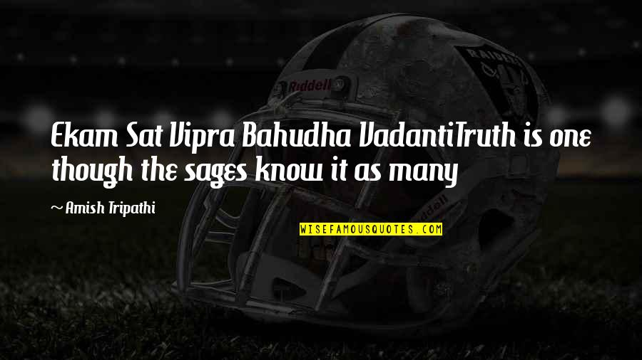 Vipra Quotes By Amish Tripathi: Ekam Sat Vipra Bahudha VadantiTruth is one though