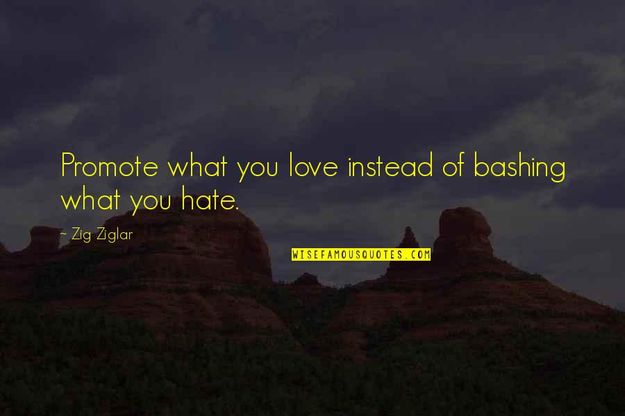 Virgie Tovar Quotes By Zig Ziglar: Promote what you love instead of bashing what