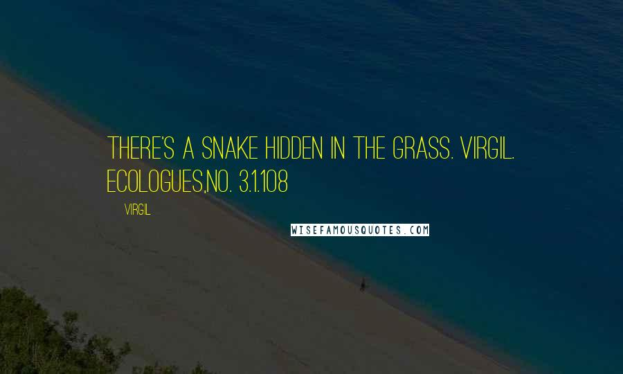 Virgil quotes: There's a snake hidden in the grass. Virgil. Ecologues,no. 3.1.1o8
