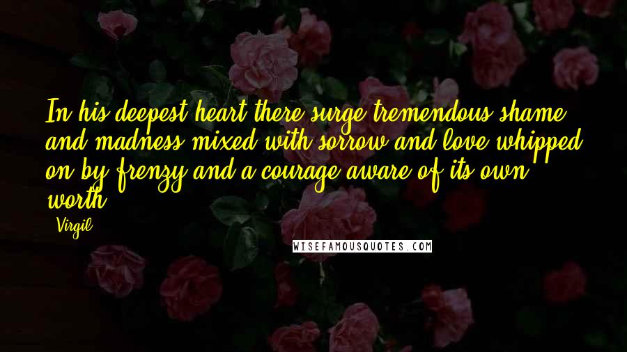 Virgil quotes: In his deepest heart there surge tremendous shame and madness mixed with sorrow and love whipped on by frenzy and a courage aware of its own worth.