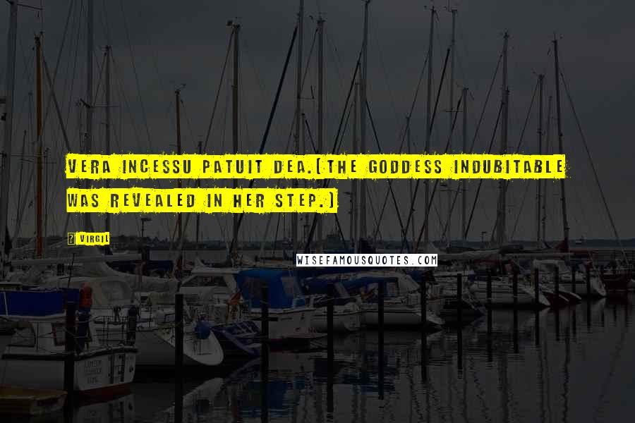 Virgil quotes: Vera incessu patuit dea.(The goddess indubitable was revealed in her step.)