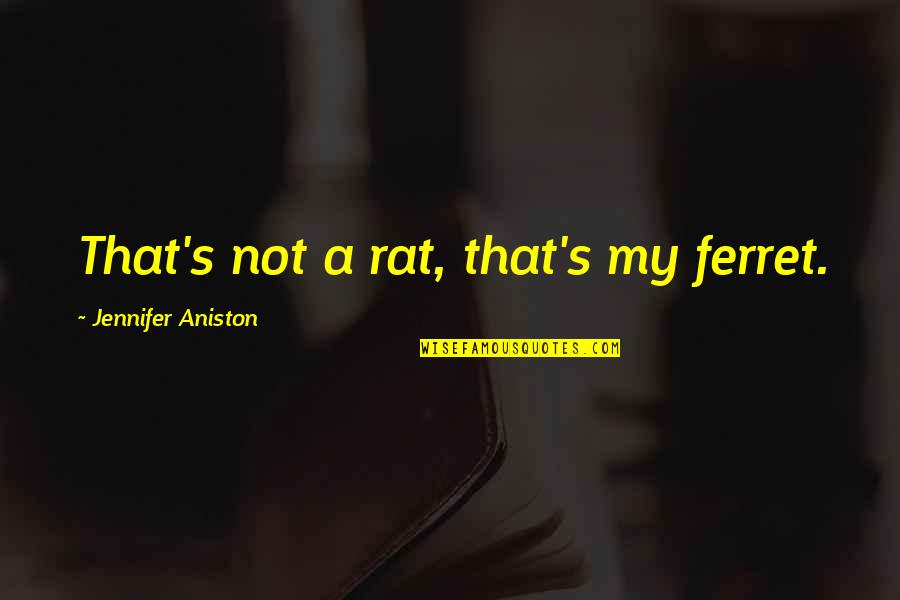 Virtual Love Quotes By Jennifer Aniston: That's not a rat, that's my ferret.