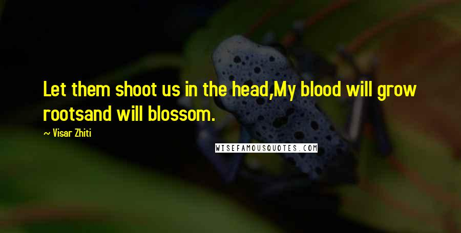 Visar Zhiti quotes: Let them shoot us in the head,My blood will grow rootsand will blossom.