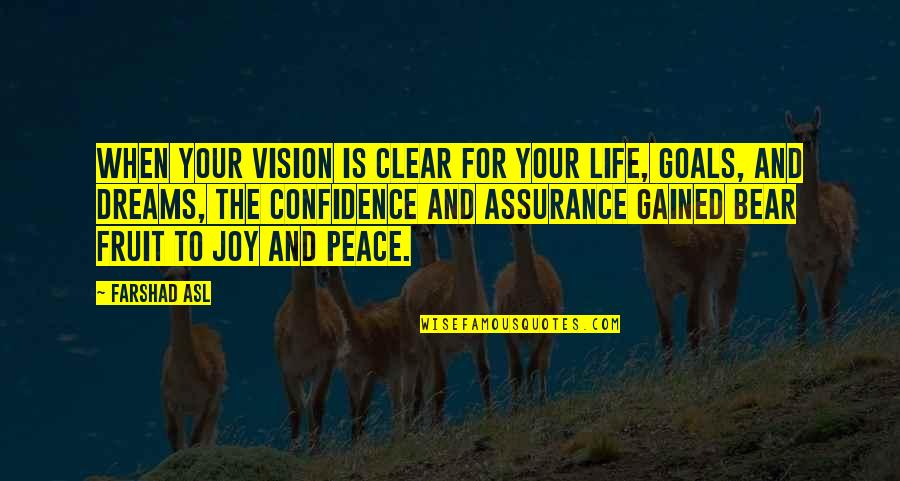 Vision And Dreams Quotes By Farshad Asl: When your vision is clear for your life,