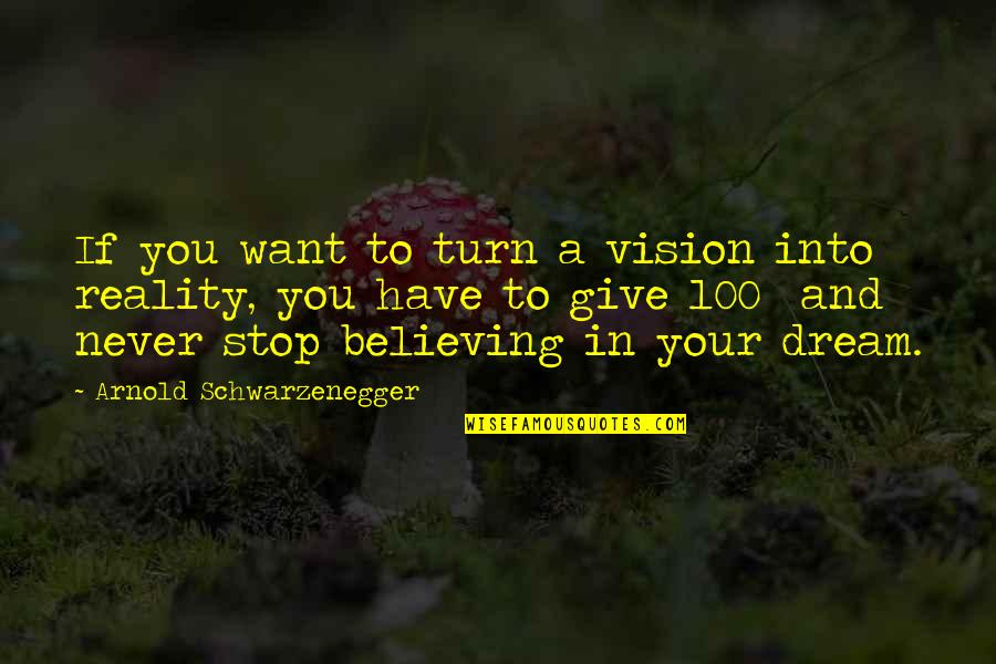 Vision Into Reality Quotes By Arnold Schwarzenegger: If you want to turn a vision into