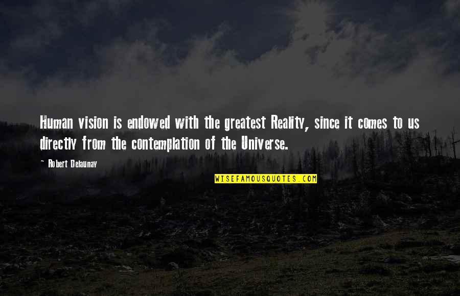 Vision Into Reality Quotes By Robert Delaunay: Human vision is endowed with the greatest Reality,