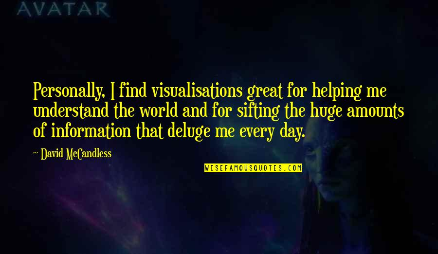 Visualisations Quotes By David McCandless: Personally, I find visualisations great for helping me