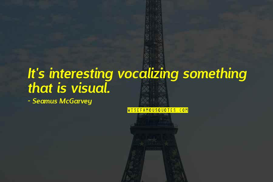 Visuals Quotes By Seamus McGarvey: It's interesting vocalizing something that is visual.