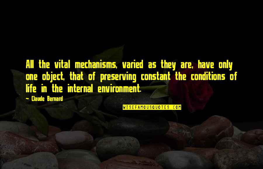 Vital Life Quotes By Claude Bernard: All the vital mechanisms, varied as they are,
