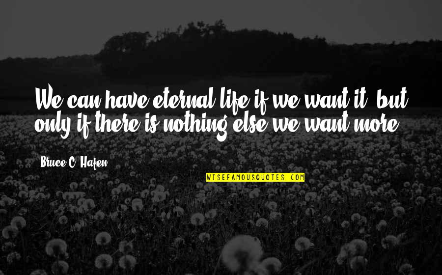 Viveash Quotes By Bruce C. Hafen: We can have eternal life if we want